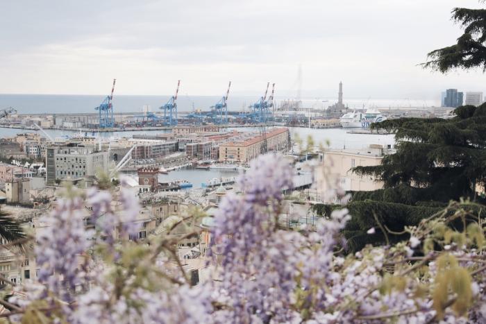 vista dall'alto su Genova e sulla Lanterna