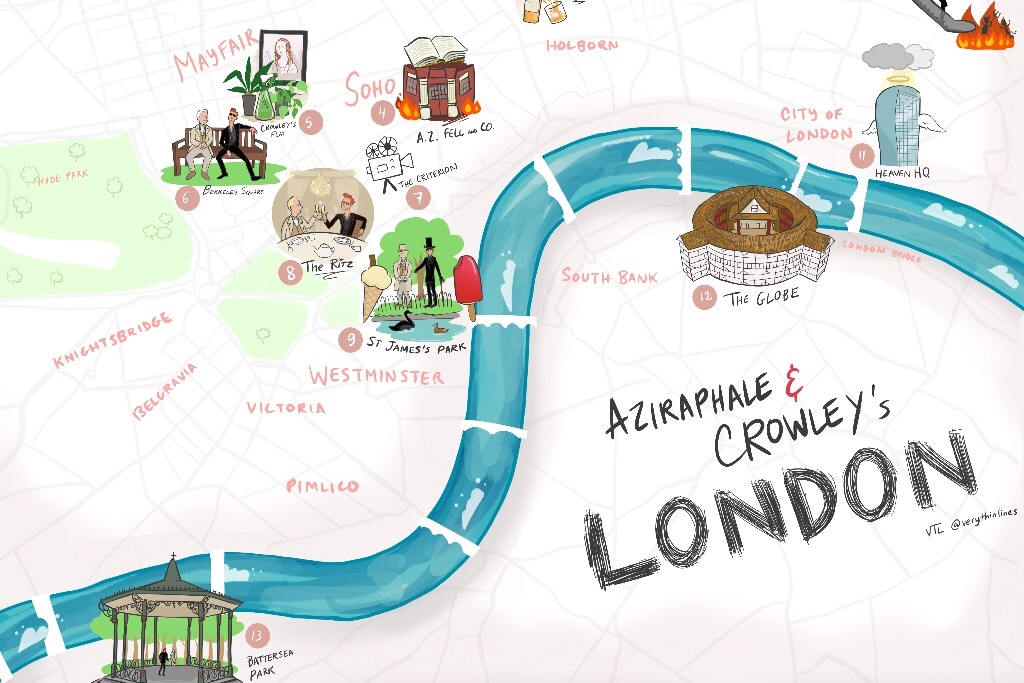Mappa di Londra con le location di Good Omens
